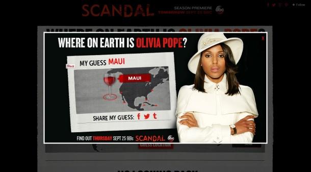 Une fois que vous aviez choisi la destination d'Olivia, vous étiez invité à partager votre réponse sur vos réseaux sociaux!